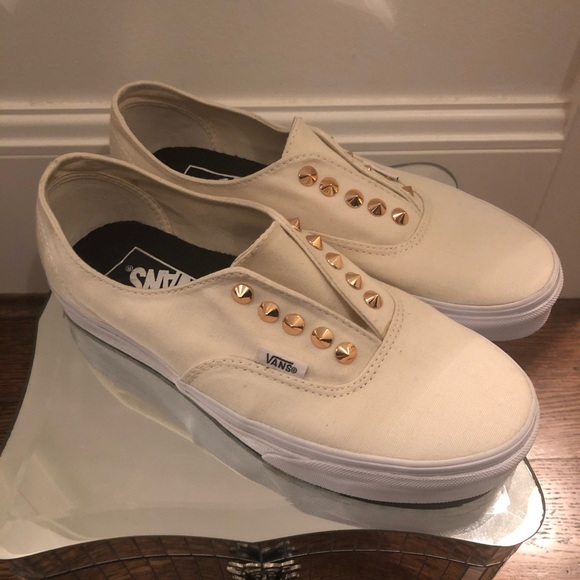 Vans Ivory Studded Slip On Size 8